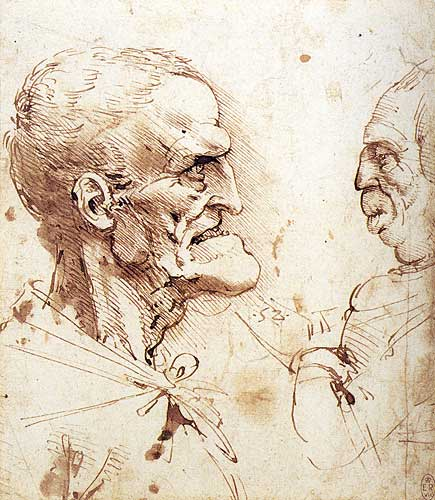 Leonardo Da Vinci Grotesque Portrait Studies of Two Men, c.1487-1490